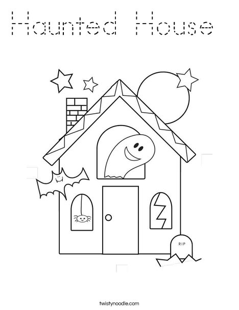 haunted house coloring page tracing twisty noodle. Black Bedroom Furniture Sets. Home Design Ideas