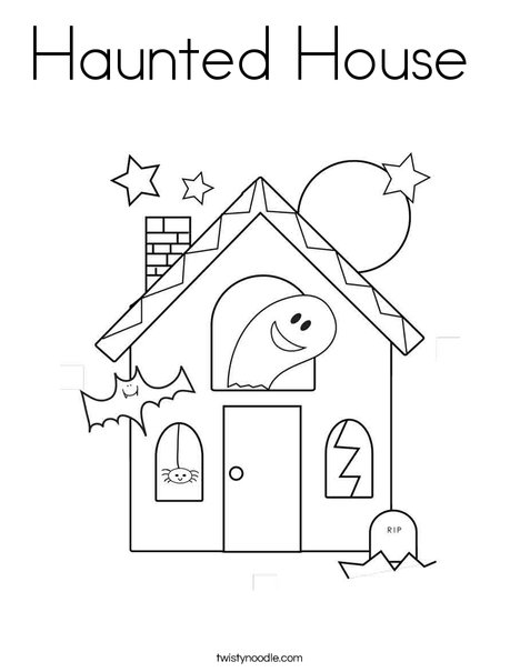 halloween haunted house coloring page - Halloween House Coloring Pages