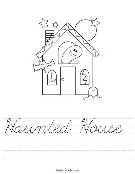 haunted house worksheet cursive twisty noodle. Black Bedroom Furniture Sets. Home Design Ideas