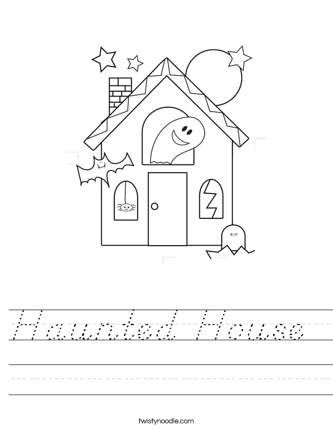 Haunted House Worksheet D Nealian Twisty Noodle