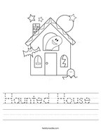 Haunted House  Handwriting Sheet