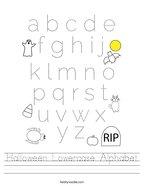Halloween Lowercase Alphabet Handwriting Sheet