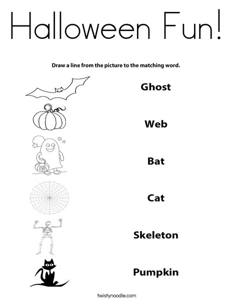 Halloween Matching Coloring Page