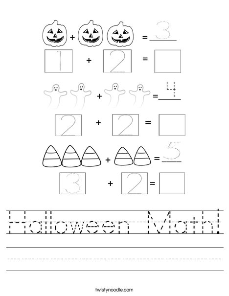 math worksheet : halloween math worksheet  twisty noodle : Halloween Math Worksheet