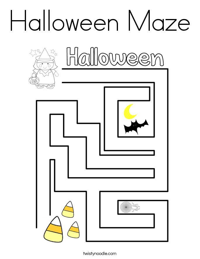 Halloween Maze Coloring Page - Twisty Noodle