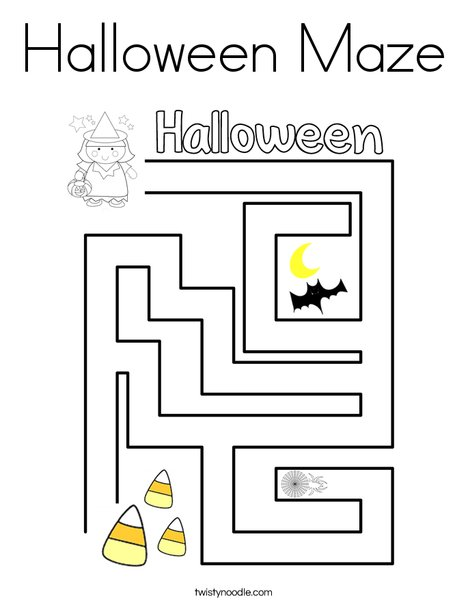 Halloween Maze Coloring Page