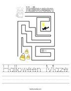 Halloween Maze Handwriting Sheet
