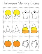 Halloween Memory Game Coloring Page