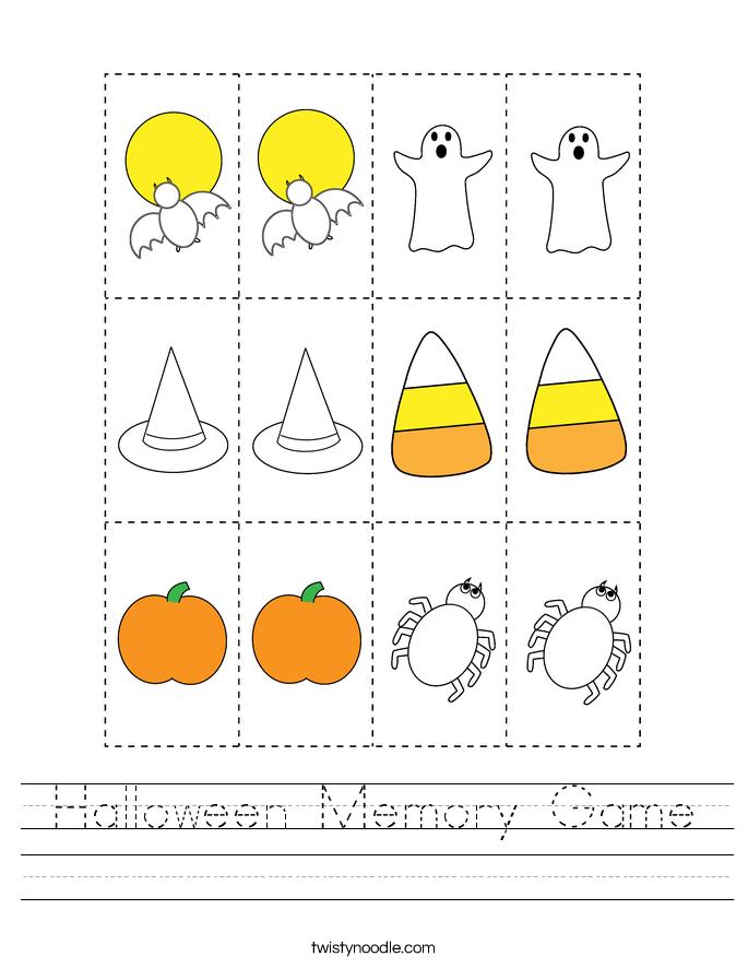 Halloween Memory Game Worksheet