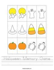 Halloween Memory Game Handwriting Sheet