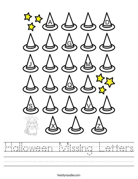 Halloween Missing Letters Worksheet - Twisty Noodle
