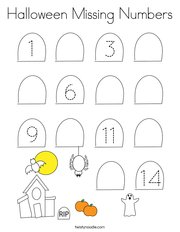 Halloween Missing Numbers Coloring Page