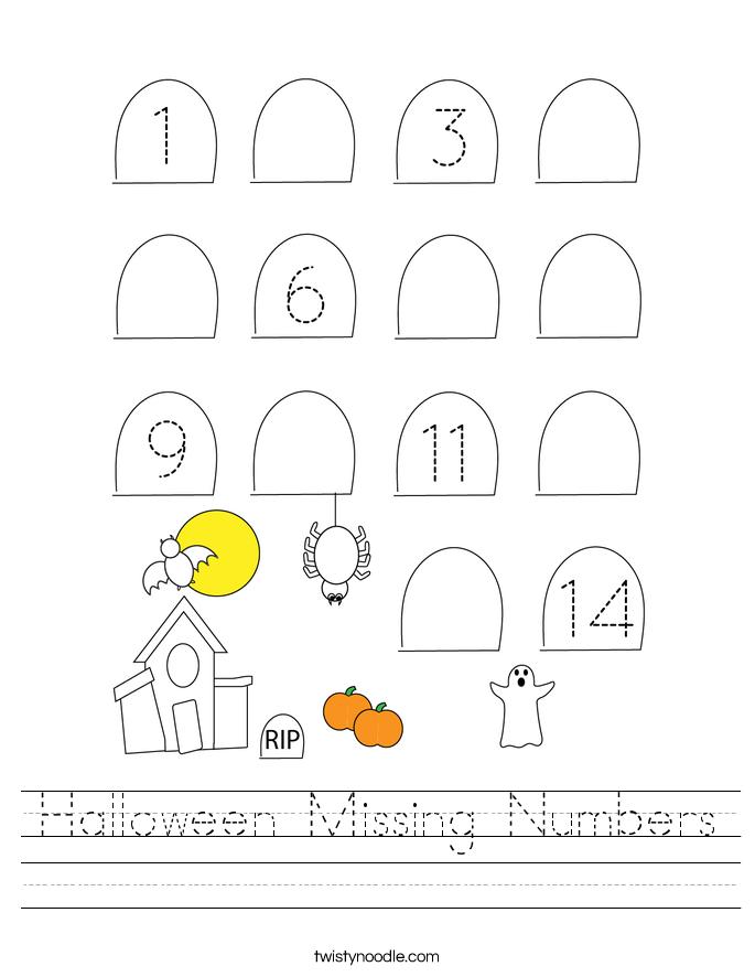 Halloween Missing Numbers Worksheet