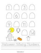 Halloween Missing Numbers Handwriting Sheet