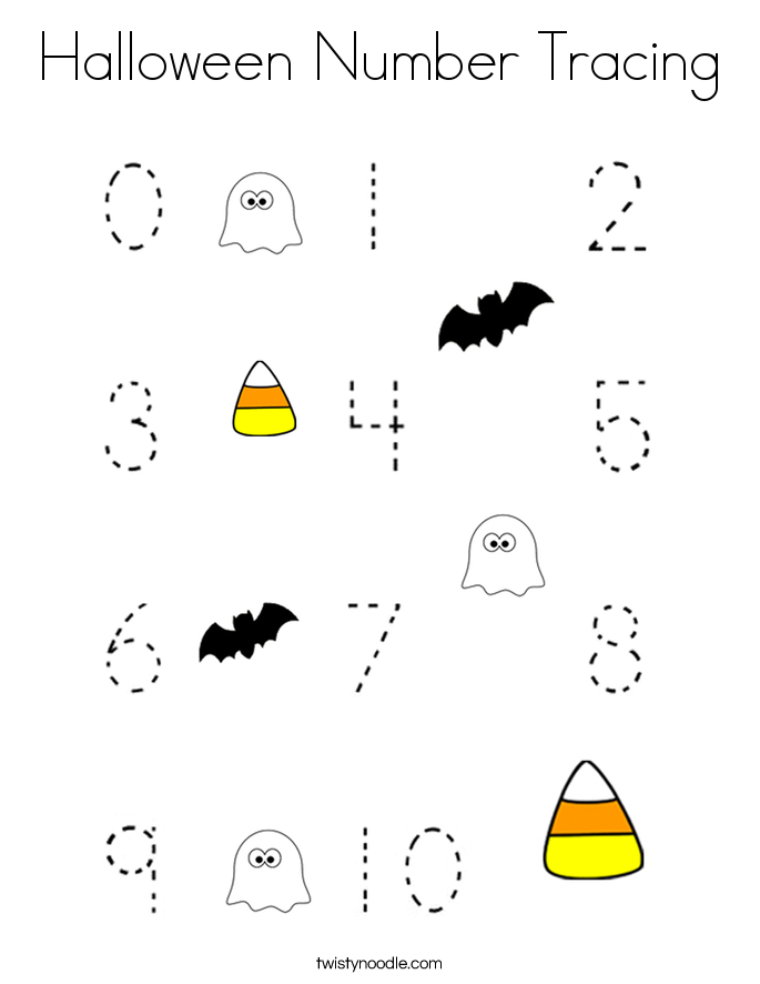 Halloween Number Tracing Coloring Page