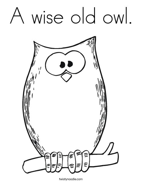 A Wise Old Owl Coloring Page - Twisty Noodle