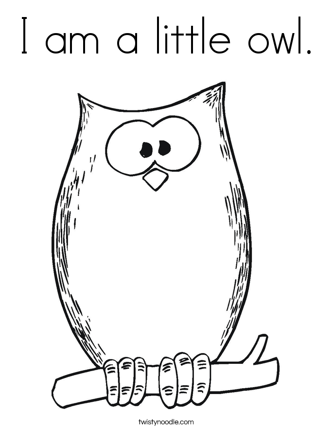 I am a little owl. Coloring Page