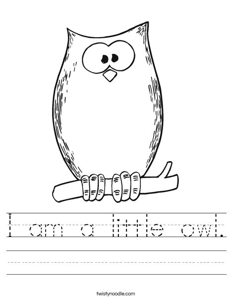 i am a little owl worksheet twisty noodle. Black Bedroom Furniture Sets. Home Design Ideas