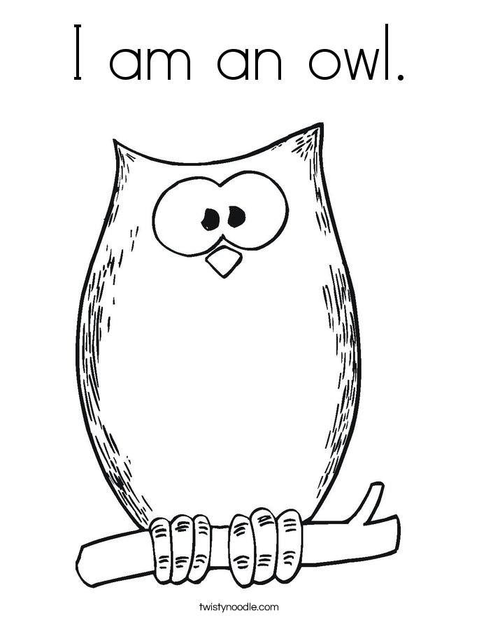 I am an owl. Coloring Page