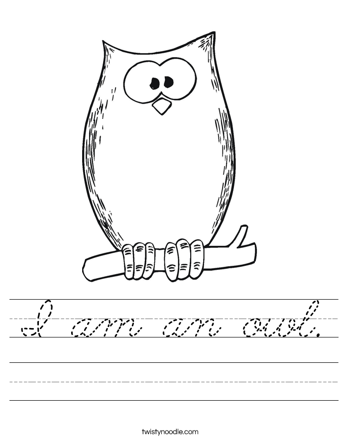 I am an owl. Worksheet
