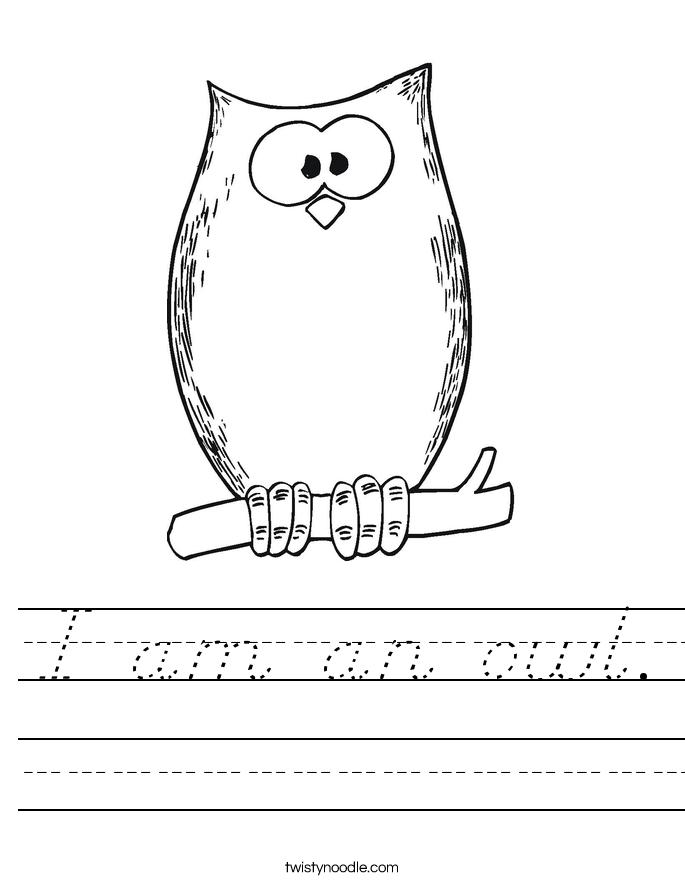 I am an owl. Worksheet
