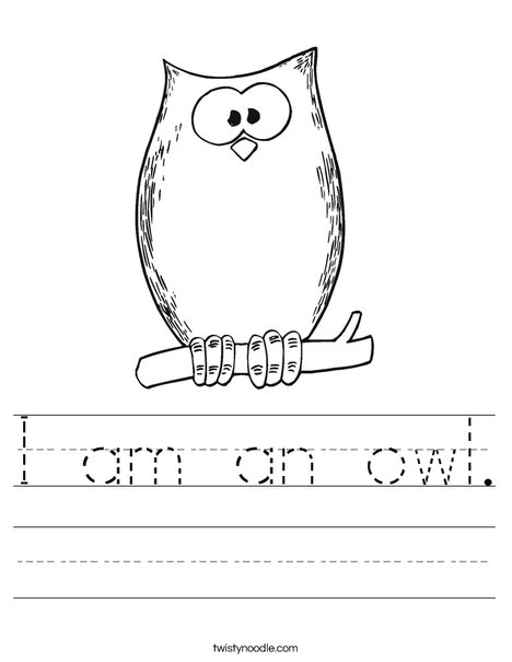i am an owl worksheet twisty noodle. Black Bedroom Furniture Sets. Home Design Ideas