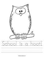 School is a hoot Handwriting Sheet