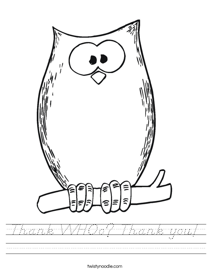 Thank WHOo? Thank you! Worksheet