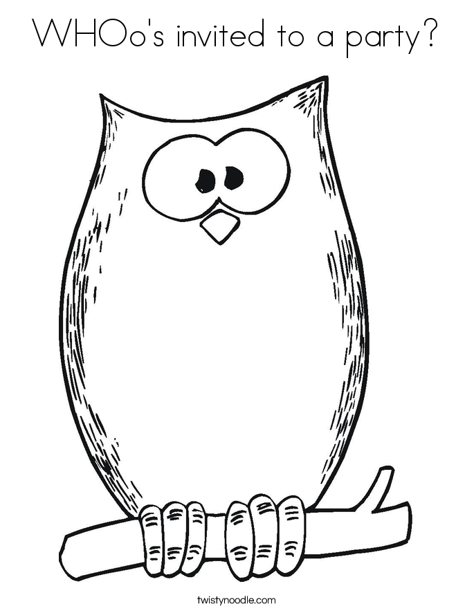 WHOo's invited to a party? Coloring Page