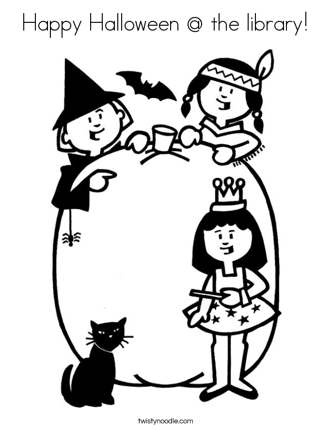 Happy Halloween @ the library! Coloring Page