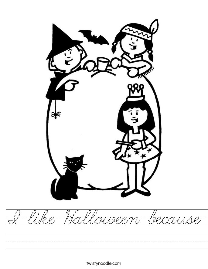 I like Halloween because Worksheet