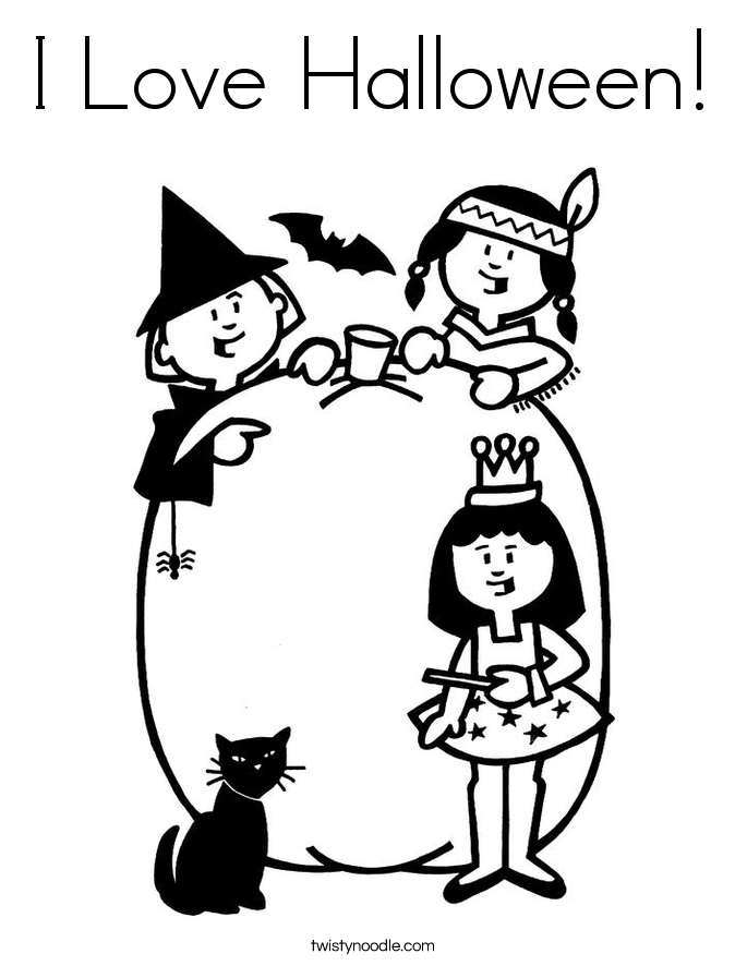 I Love Halloween! Coloring Page