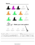 Halloween Patterns Handwriting Sheet