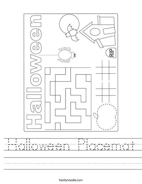 Halloween Placemat Worksheet