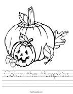 Color the Pumpkins Handwriting Sheet