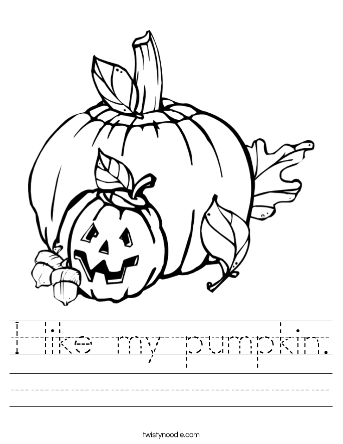 I like my pumpkin. Worksheet