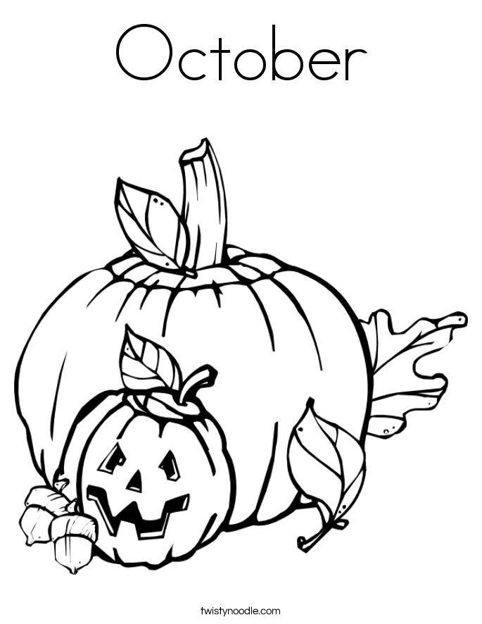 October Coloring Page Twisty Noodle October Coloring Page