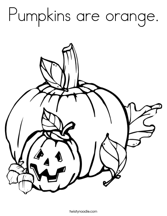 Pumpkins are orange. Coloring Page