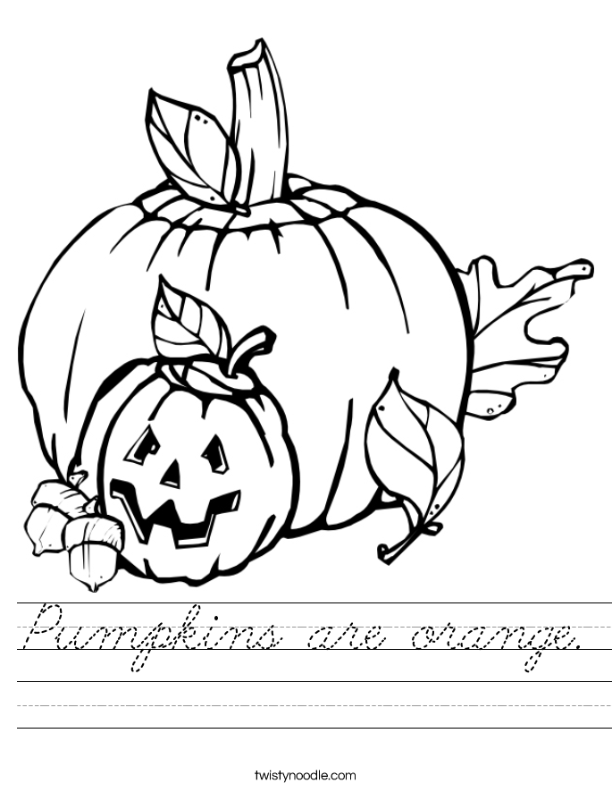 Pumpkins are orange. Worksheet