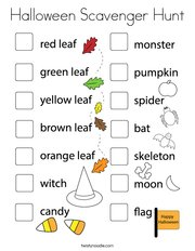 Halloween Scavenger Hunt Coloring Page