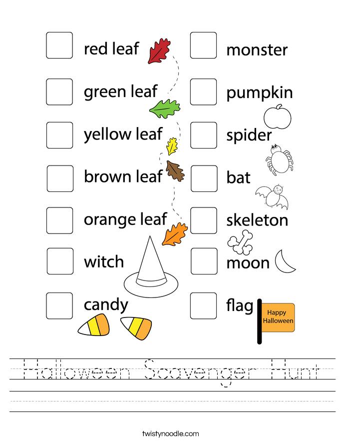 Halloween Scavenger Hunt Worksheet