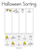 Halloween Sorting Coloring Page