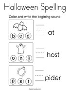 Halloween Spelling Coloring Page