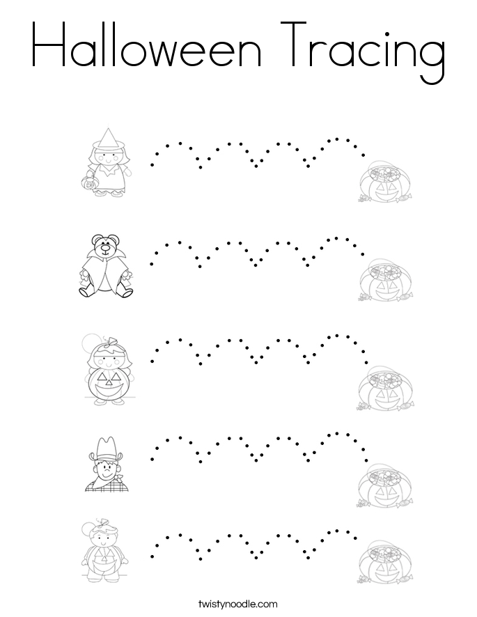 Halloween Tracing Coloring Page