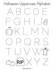 Halloween Uppercase Alphabet Coloring Page