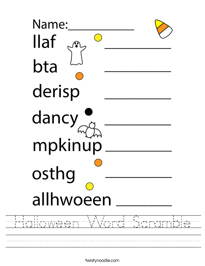 Halloween Word Scramble Worksheet