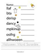 Halloween Word Scramble Handwriting Sheet