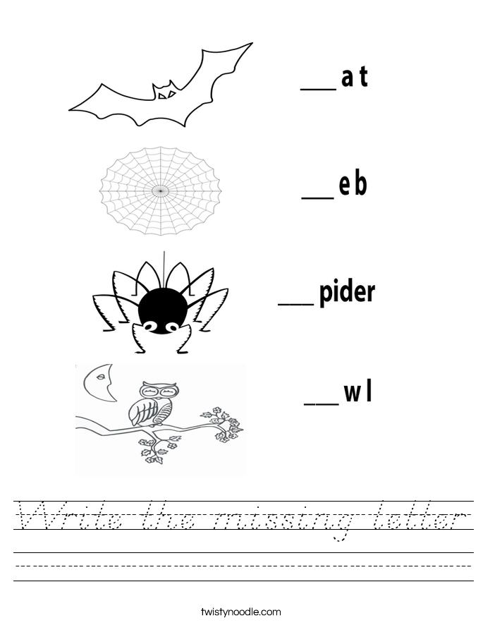Write the missing letter Worksheet