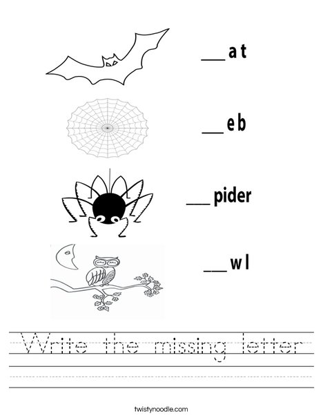 Fill in the missing letters Worksheet - Twisty Noodle
