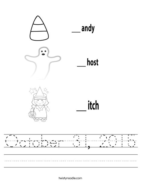 Candy Ghost Witch Worksheet